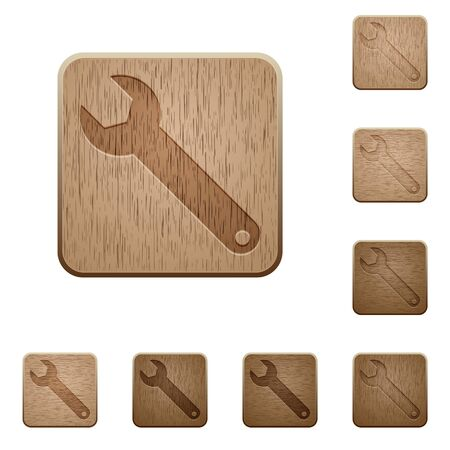 commercial tree service: Set of carved wooden wrench buttons. 8 variations included. Arranged layer structure.