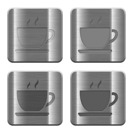 brushed aluminum: Set of Coffee buttons vector in brushed metal style. Arranged layer, color and graphic style structure.
