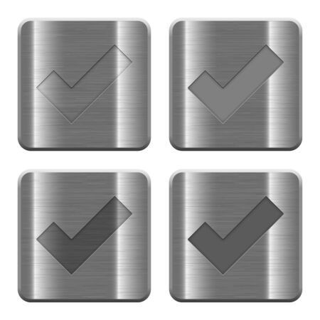 ok icon: Set of Ok buttons vector in brushed metal style. Arranged layer, color and graphic style structure.