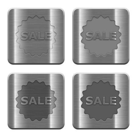layer style: Set of Sale badge buttons vector in brushed metal style. Arranged layer, color and graphic style structure.