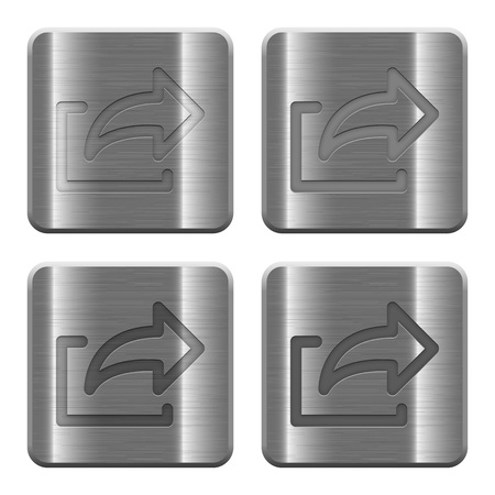 layer style: Set of Export buttons vector in brushed metal style. Arranged layer, color and graphic style structure. Illustration