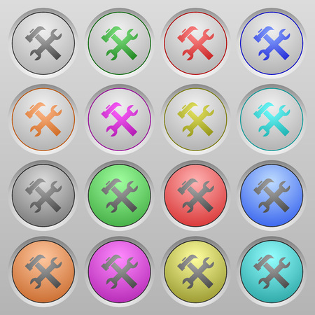 round icons: Set of tools plastic sunk spherical buttons on light gray background. 16 variations included. Well-organized layer, color swatch and graphic style structure. Easy to recolor.