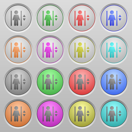 layer style: Set of elevator plastic sunk spherical buttons on light gray background. 16 variations included. Well-organized layer, color swatch and graphic style structure. Easy to recolor.