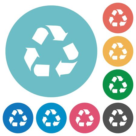 conservationist: Flat recycling icon set on round color background. 8 color variations included with light teme.