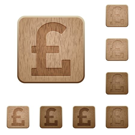 variations: Set of carved wooden pound sign cutlery buttons. 8 variations included. Arranged layer structure.