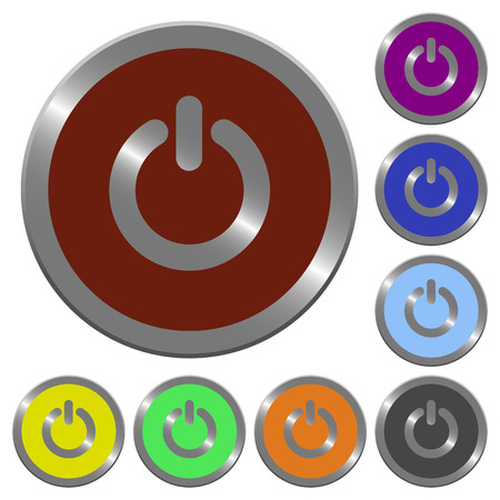 power off: Set of glossy coin-like color power off buttons. Arranged layer structure.