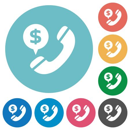 phone calls: Flat money call icon set on round color background. 8 color variations included with light teme.