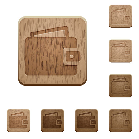 variations: Set of carved wooden wallet buttons. 8 variations included. Arranged layer structure.