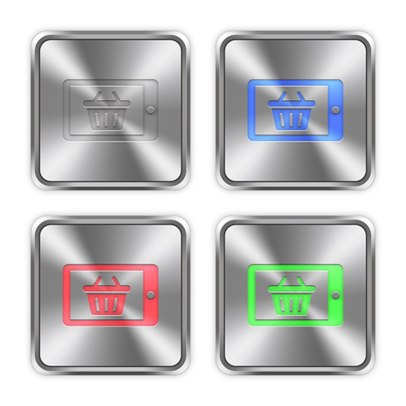 layer styles: Color mobile shopping icons engraved in glossy steel push buttons. Well organized layer structure, color swatches and graphic styles.