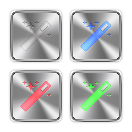 layer styles: Color magic wand icons engraved in glossy steel push buttons. Well organized layer structure, color swatches and graphic styles. Illustration