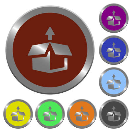 unpack: Set of glossy coin-like color unpack buttons. Arranged layer structure. Illustration