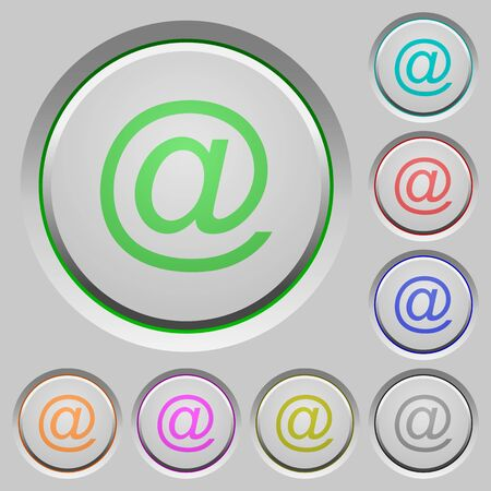 humped: Set of email sunk push buttons. Well-organized layer, color swatch and graphic style structure. Easy to recolor.