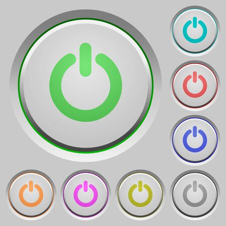 poweron: Set of power switch sunk push buttons. Well-organized layer, color swatch and graphic style structure. Easy to recolor. Illustration