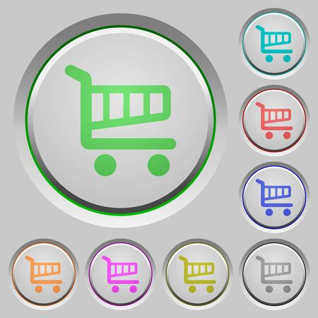 layer style: Set of shopping cart sunk push buttons. Well-organized layer, color swatch and graphic style structure. Easy to recolor.