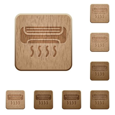 cold room: Set of carved wooden air conditioner buttons. 8 variations included. Arranged layer structure.