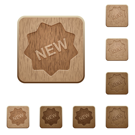 carved: Set of carved wooden new badge buttons. 8 variations included. Arranged layer structure. Illustration