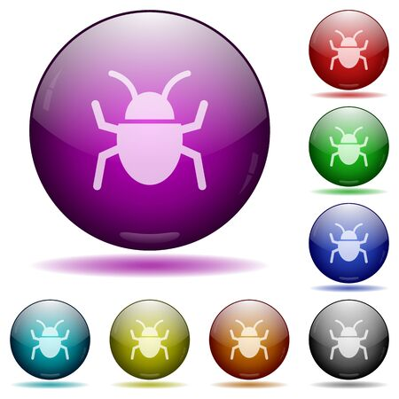 malicious software: Set of color computer bug glass sphere buttons with shadows. Arranged layer structure. Illustration