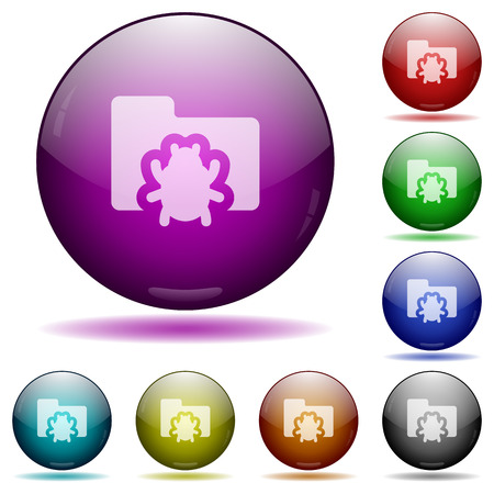 debugging: Set of color bug folder, glass sphere buttons with shadows. Arranged layer structure. Illustration