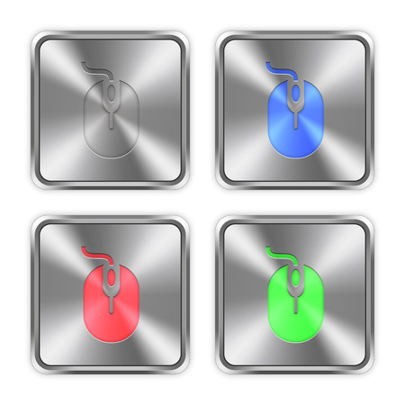layer styles: Color computer mouse icons engraved in glossy steel push buttons. Well organized layer structure, color swatches and graphic styles.