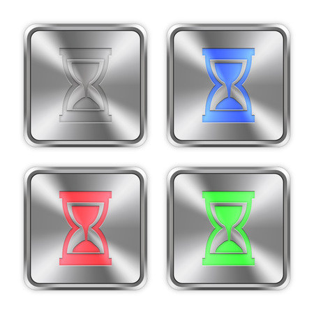 layer styles: Color hourglass icons engraved in glossy steel push buttons. Well organized layer structure, color swatches and graphic styles.