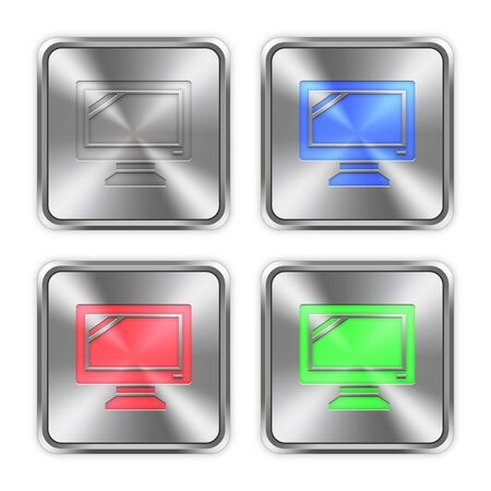 layer styles: Color monitor icons engraved in glossy steel push buttons. Well organized layer structure, color swatches and graphic styles.
