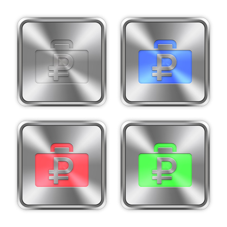 color swatches: Color ruble bag icons engraved in glossy steel push buttons. Well organized layer structure, color swatches and graphic styles. Illustration