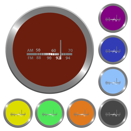 am radio: Set of glossy coin-like color radio tuner buttons. Arranged layer structure.