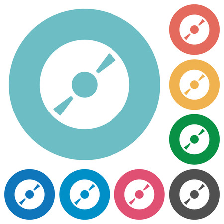 icon buttons: Flat DVD icon set on round color background. 8 color variations included with light teme.