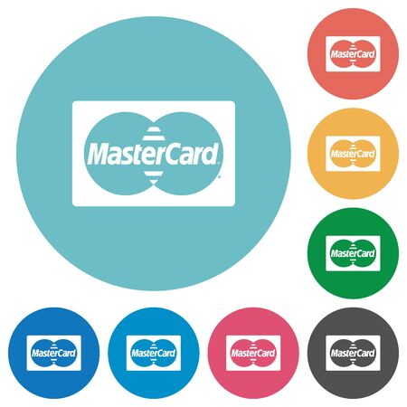 Flat bank card icon set on round color background. 8 color variations included with light teme.