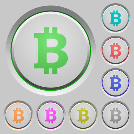 layer style: Set of bitcoin sign sunk push buttons. Well-organized layer, color swatch and graphic style structure. Easy to recolor.