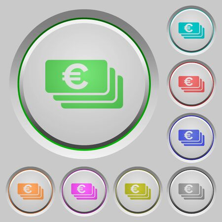humped: Set of euro banknotes sunk push buttons. Well-organized layer, color swatch and graphic style structure. Easy to recolor.