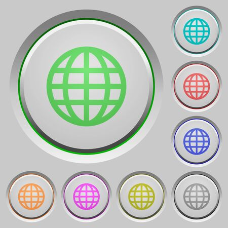 humped: Set of globe sunk push buttons. Well-organized layer, color swatch and graphic style structure. Easy to recolor.