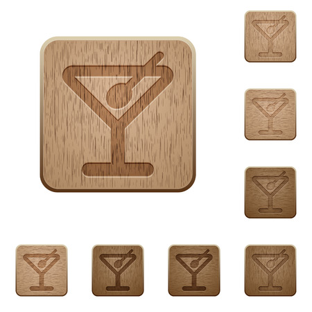 variations: Set of carved wooden Cocktail buttons. 8 variations included. Arranged layer structure.