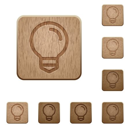 Set of carved wooden light bulb buttons. 8 variations included. Arranged layer structure.