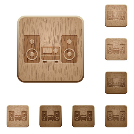 hifi: Set of carved wooden hifi buttons. 8 variations included. Arranged layer structure.