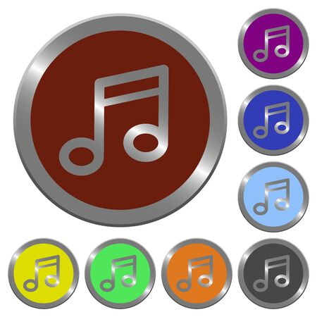 music buttons: Set of glossy coin-like color music buttons. Arranged layer structure.