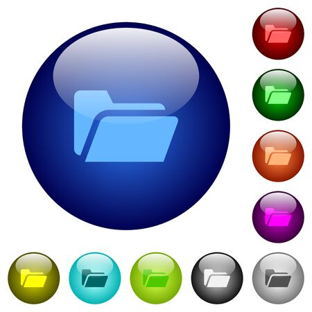 ent: Set of color folder open glass web buttons. Arranged layer structure.
