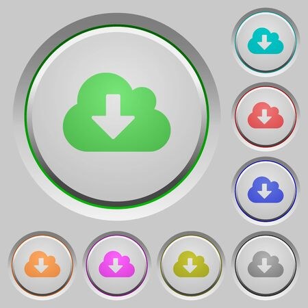 humped: Set of cloud download sunk push buttons. Well-organized layer, color swatch and graphic style structure. Easy to recolor.