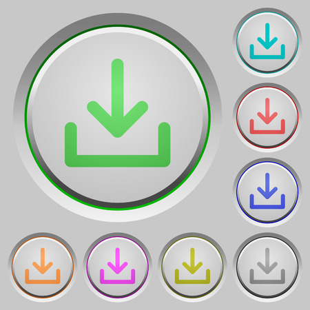 color swatch: Set of download sunk push buttons. Well-organized layer, color swatch and graphic style structure. Easy to recolor. Illustration