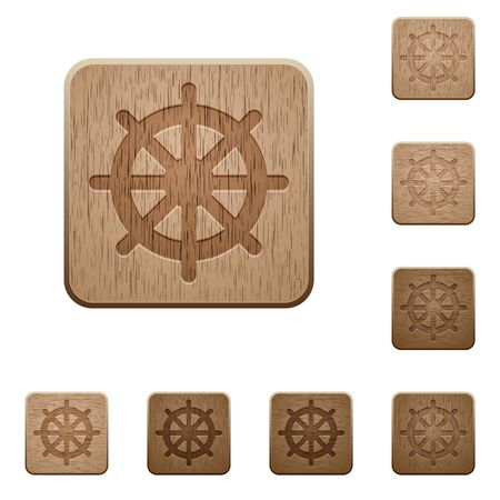 variations: Set of carved wooden ships wheel buttons. 8 variations included. Arranged layer structure. Illustration