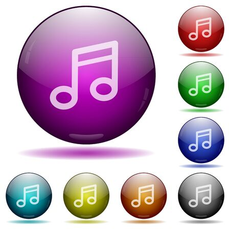 glass sphere: Set of color music glass sphere buttons with shadows. Arranged layer structure.