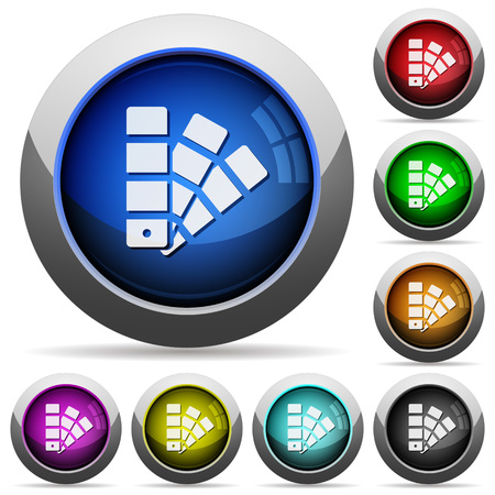 color swatch: Set of round glossy color swatch buttons. Arranged layer structure.