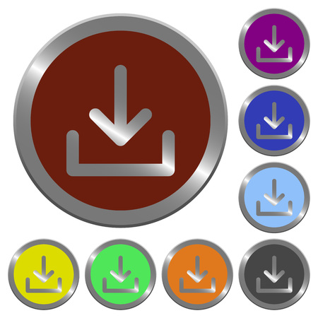 acquire: Set of glossy coin-like color download buttons. Arranged layer structure.