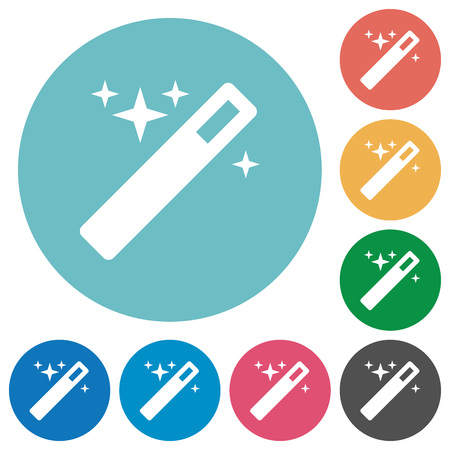 thaumaturge: Flat magic wand icon set on round color background. 8 color variations included with light teme.