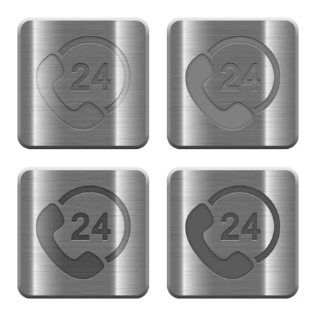 color consultation: Set of 24 hour support buttons in brushed metal style. Arranged layer, color and graphic style structure. Illustration