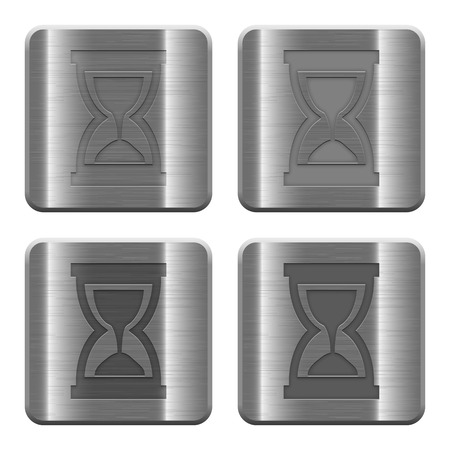 layer style: Set of hourglass buttons in brushed metal style. Arranged layer, color and graphic style structure.