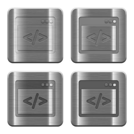Set of programming code buttons in brushed metal style. Arranged layer, color and graphic style structure. Illustration