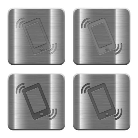 layer style: Set of ringing phone buttons in brushed metal style. Arranged layer, color and graphic style structure.