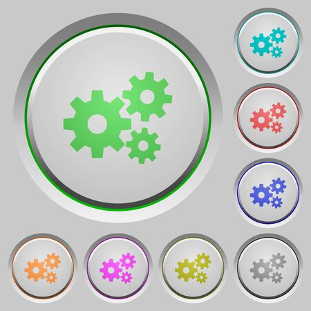 humped: Set of gears sunk push buttons. Well-organized layer, color swatch and graphic style structure. Easy to recolor.