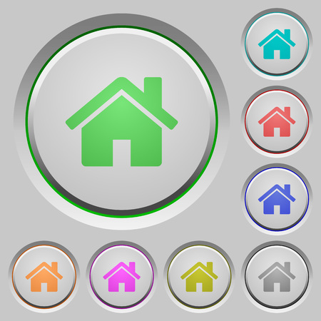 layer style: Set of home sunk push buttons. Well-organized layer, color swatch and graphic style structure. Easy to recolor.